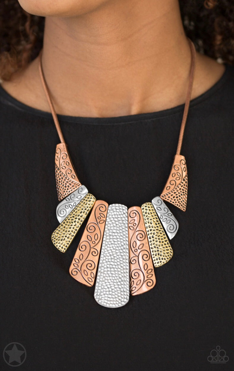 copper silver brass blockbuster necklace