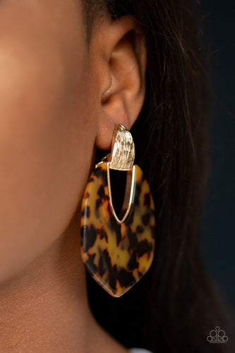 My Animal Spirit - Gold Acrylic Faux-Marble Paparazzi Jewelry Earrings paparazzi accessories jewelry Earrings