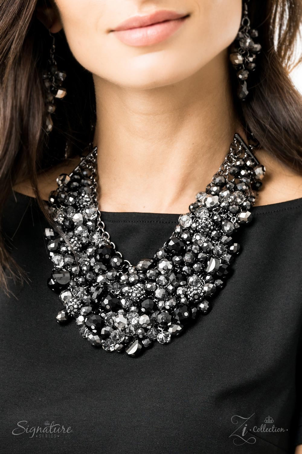 The Taylerlee - Black Rhinestone 2019 Signature Zi Collection Paparazzi Jewelry Necklace paparazzi accessories jewelry Necklaces