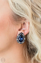 Load image into Gallery viewer, blue rhinestone hematite clip-on Paparazzi Jewelry Earrings