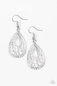 Sparkling Stardom - White Paparazzi Jewelry Earrings paparazzi accessories jewelry Earrings