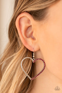 Paparazzi Accessories - First Date Dazzle - Red Earrings