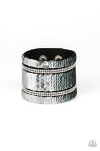 green silver sequin reversible mermaid wrap bracelet