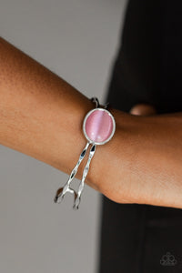buy Let's Get Things GLOWING -Pink Paparazzi Jewelry Bracelet onlineBraceletaffordable, beautiful, bracelet, cats eye, cuff, moonstone, paparazzi, pink, silver, unique, whimsical