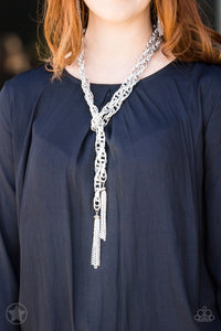 silver scarf blockbuster paparazzi necklace
