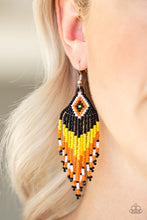 buy Wind Blown Wanderer - Yellow/Black/Orange Seed Bead Paparazzi Jewelry Earrings onlineEarringsaffordable, autumn, beads, black, bold, brown, dangle, daper, earrings, Fringe, halloween, layers, mother's day, orange, paparazzi, paparazzi jewelry, seed beads, spring, summer, summer spotlight, summery, tribal, unique, yellow