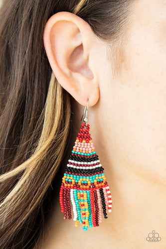Paparazzi Jewelry & Accessories beaded bohemian white, yellow, black, red, orange, blue, pink seed bead earrings. Bling By Titia