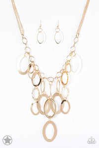 A Golden Spell - Gold Blockbuster Paparazzi Jewelry Necklace paparazzi accessories jewelry Necklaces