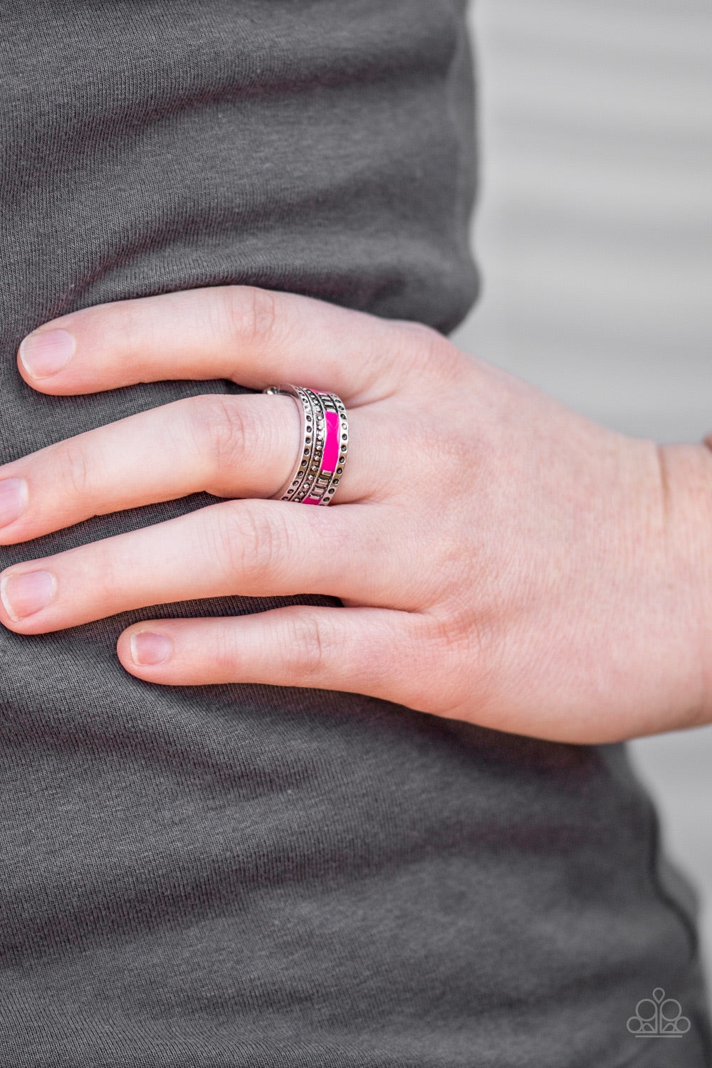 buy Super Summer - Pink Paparazzi Jewelry Ring onlineRingaffordable, black, easter, girls, paparazzi, pink, red, ring, silver, spring, stretchy, stretchy band, summer, summery, textured, unique