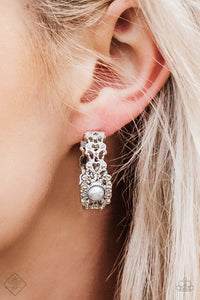 buy Exquisite Expense - Silver Paparazzi Jewelry Earrings onlineEarringsaffordable, bridal, bride, earrings, filigree, formal, frilly, glamorous, hoop, mother of the bride, mother's day, paparazzi, paparazzi jewelry, pearl, pearly, prom, shimmer, shimmery, silver, spring, spring time, summer, summer spotlight, summery, unique