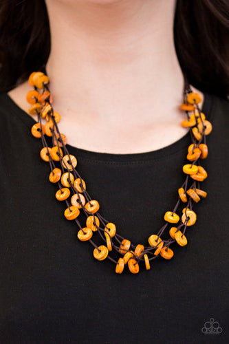 Hoppin Honolulu - Orange Wooden Bead Paparazzi Jewelry Necklace paparazzi accessories jewelry Necklaces