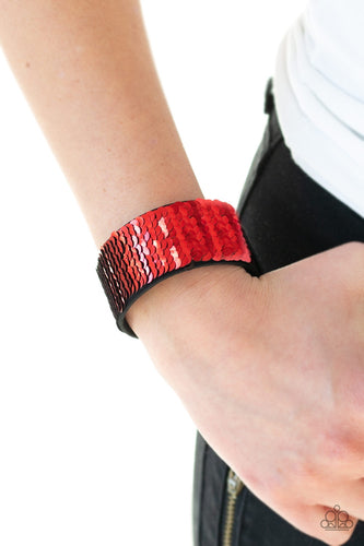Mer-mazingly Mermaid - Red and Black Sequin Reversible Paparazzi Jewelry Wrap Bracelet paparazzi accessories jewelry bracelet