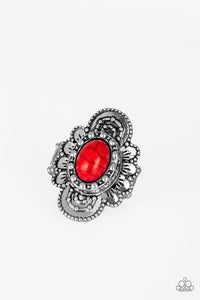 Basic Element - Red Stone Paparazzi Jewelry Ring paparazzi accessories jewelry Ring
