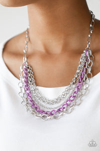 Color Bomb - Purple and Silver Chain Paparazzi Jewelry Necklace paparazzi accessories jewelry Necklaces