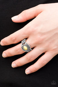 buy All Summer Long - Yellow Paparazzi Jewelry Ring onlineRingaffordable, antiqued, bead, brushed, dainty, flowers, glistening, ring, shimmer, shimmering, shimmery, silver, spring, spring time, stretchy, stretchy band, summer, summer spotlight, summery, unique, yellow