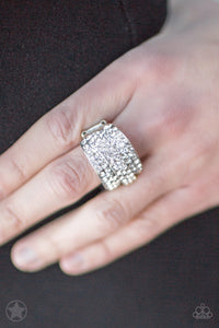 The Millionaires Club - Silver White Rhinestone Blockbuster Paparazzi Jewelry Ring paparazzi accessories jewelry Ring