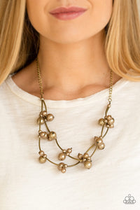 Wedding BELLES - Brass Paparazzi Jewelry Necklace paparazzi accessories jewelry Necklaces