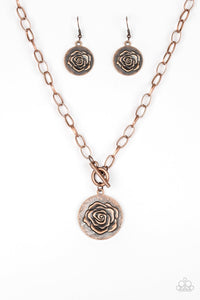 Beautifully Belle - Copper Bronze Rosebud Paparazzi Jewelry Necklace paparazzi accessories jewelry Necklaces