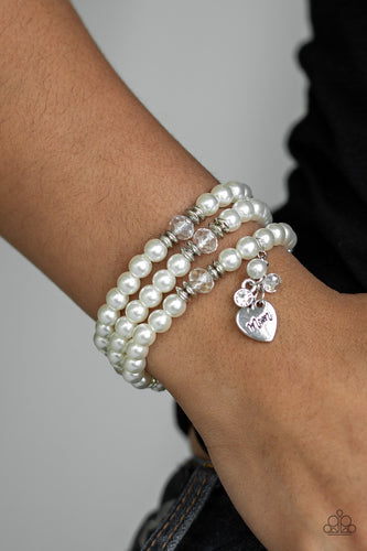 Mom Wow - White Pearl Mother's Day Paparazzi Jewelry Bracelet paparazzi accessories jewelry Bracelet