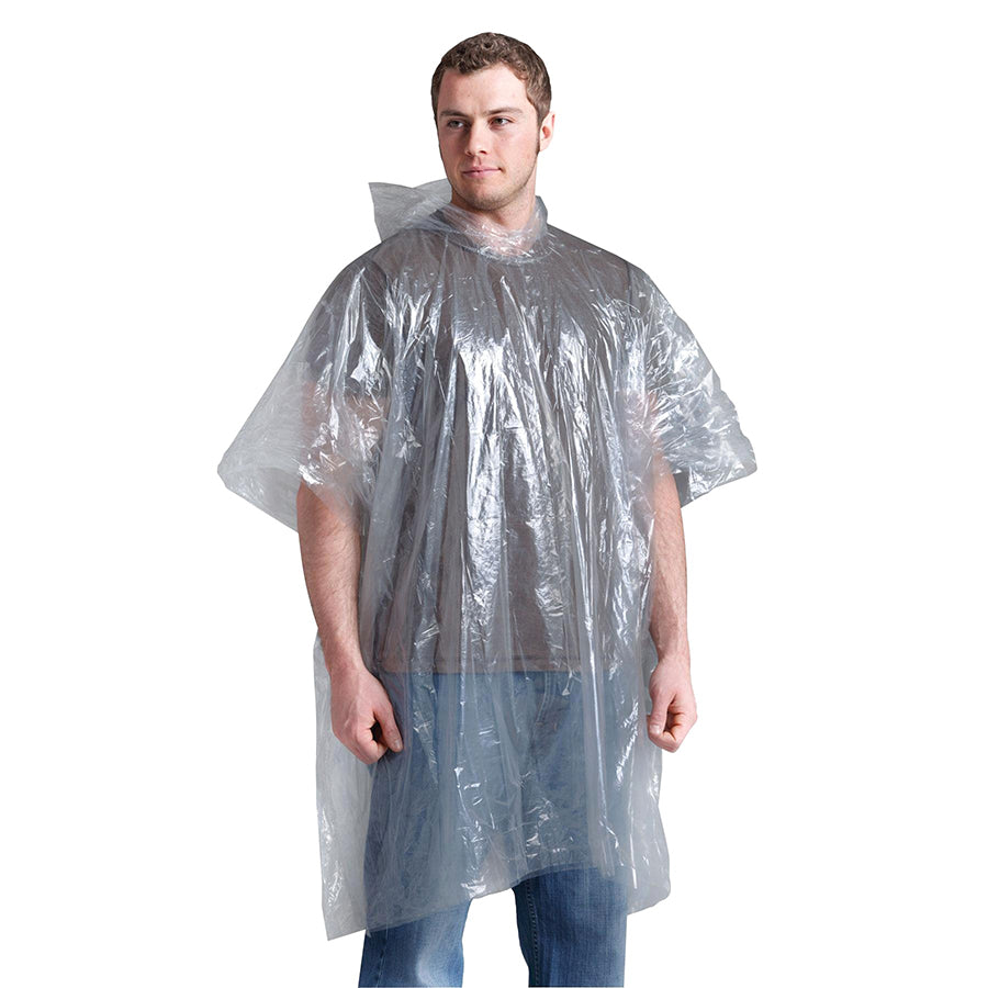 lightweight plastic poncho clear on model