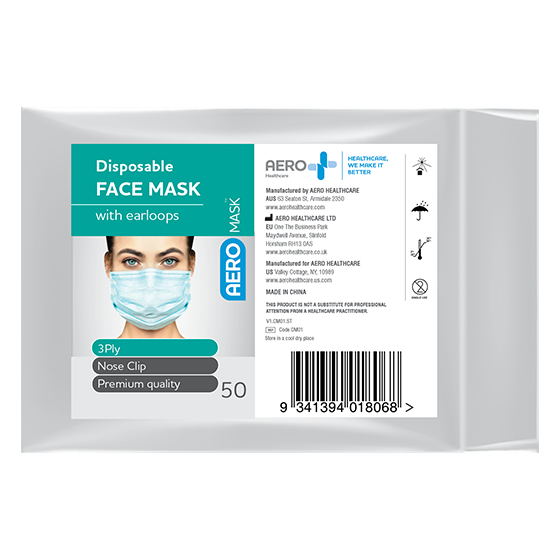 Face Mask - Disposable 3Ply Civilian Grade with Earloops