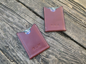 Minimalist Leather Card Wallet. Monogram Available.