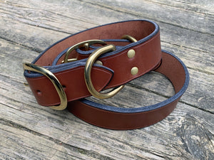 Wide bridle leather dog collar. Brown with solid brass hardware.
