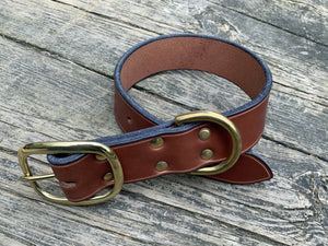 "1.5"" wide brown bridle leather dog collar. Brass hardware."