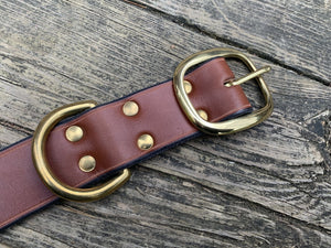 Brown leather dog collar with solid brass hardware. Buckle detail.