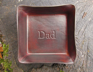 Father's Day gift leather tray. Brown.