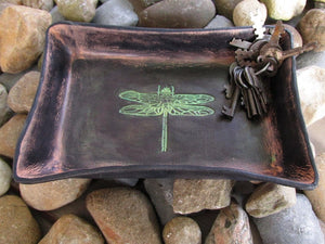Black Dragonfly Leather Desk Tray. Iridescent green detail.