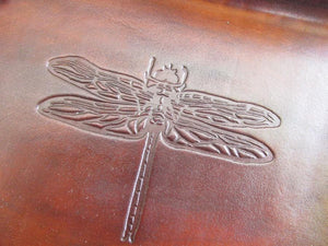 Dragonfly leather desk tray. Brown. Detail.