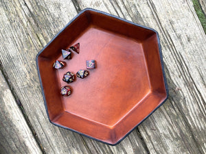 Handcrafted hexagonal leather dice tray. Tan.