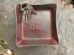 "Brown Leather Desk Tray with ""Dad"" Inscription."