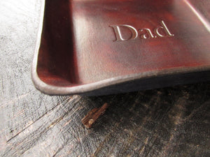 "Brown leather ""Dad"" gift leather tray. Side Detail."