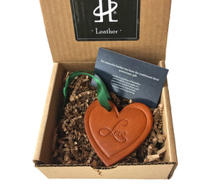 Four Robins. Leather Anniversary Gift. Heart Ornament.