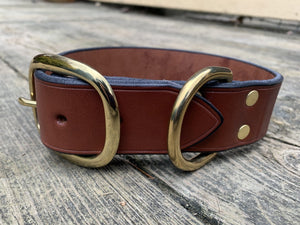 Bridle leather collar for large dogs. Brass Hardware.