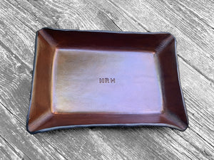 Leather tray for third anniversary gift. Monogrammed.