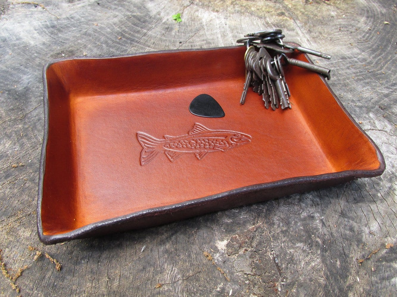 Leather desk valet tray. Trout design.