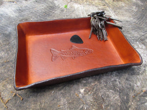 Father's Day leather desk tray. Trout design.