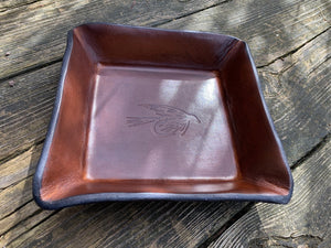 Leather Catchall Valet. Fishing Motif.