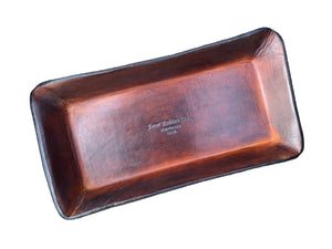 Four Robins Ltd. Logo Leather Desk Valet. Timber Brown