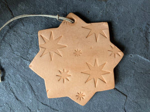 San Pedro Star Ornament.  Natural Vegetable Tanned Leather.  With Logo.