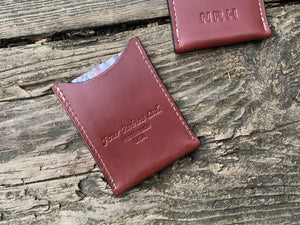 Leather credit card wallet with monogram. Gift for men.