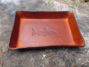 Leather anniversary gift for men. Leather tray with trout image.