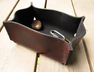 Distressed brown leather desk organizer tray