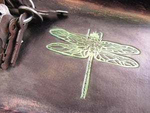 Leather Desk Valet. Dragonfly. Detail of dragonfly.