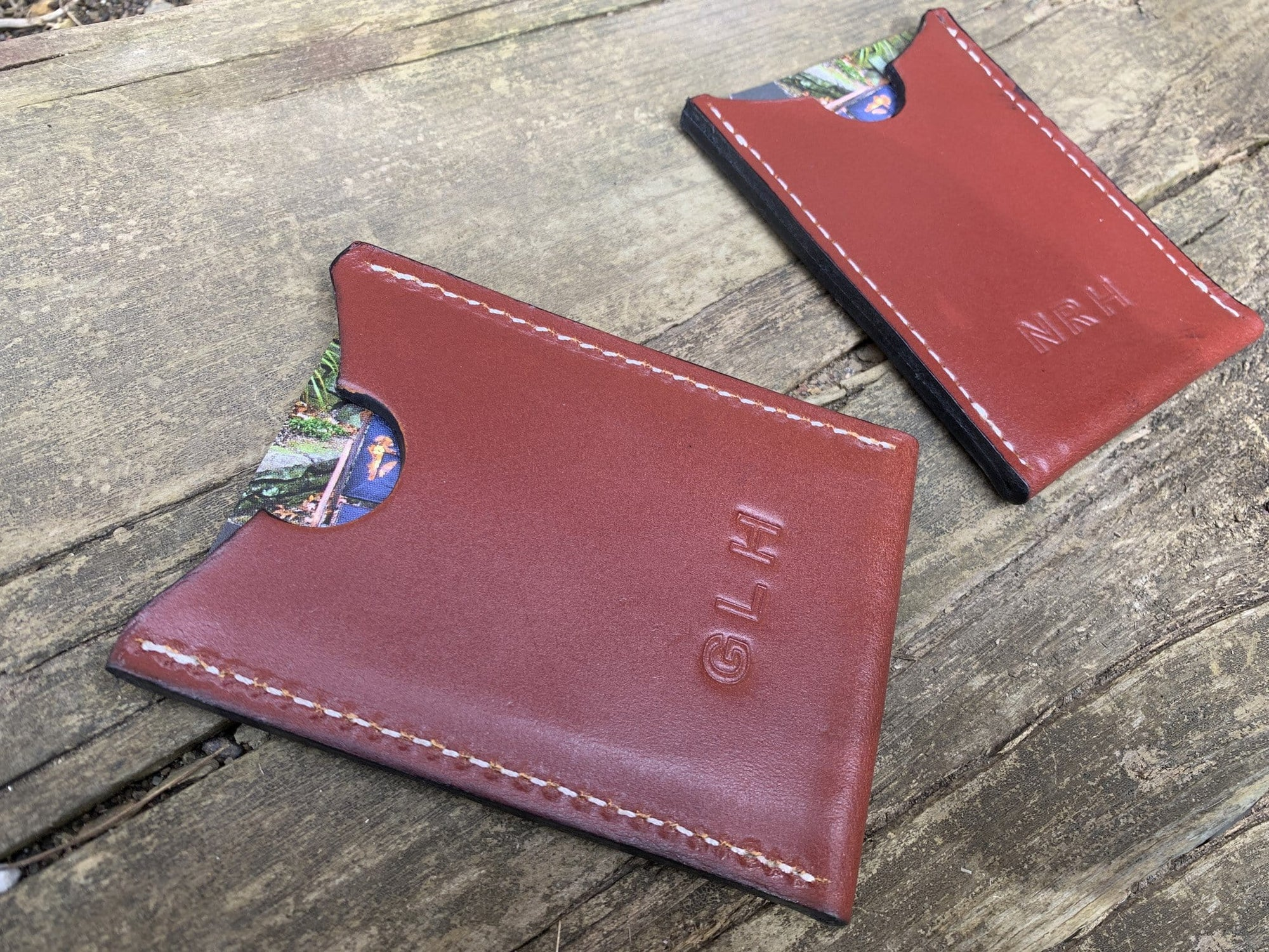 Minimalist leather card wallet with monogram
