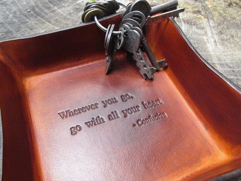 Good Luck Gift Leather Tray. Wherever you go, go with all your heart. Detail.