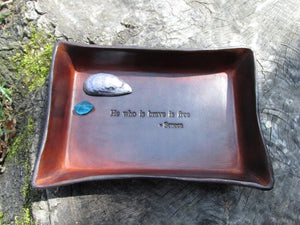 moivational gift. Leather tray with Seneca quote.